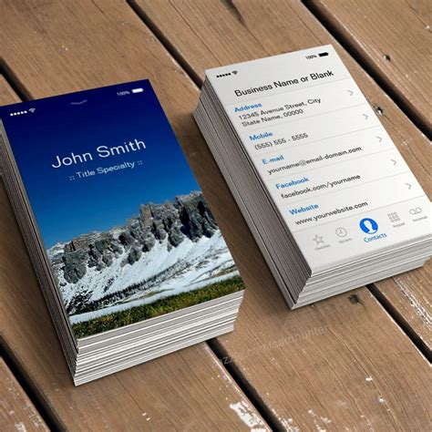 iphone business card template iphone ios customizable flat ui style business card