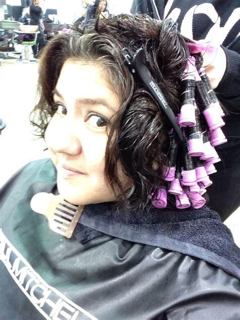 he got a feminine perm purple rod acid perm time again hair pinterest