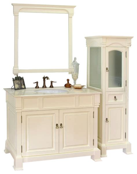 42 inch single sink vanity wood white traditional