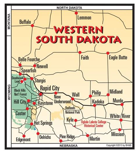 map of dakota western south dakota black maps