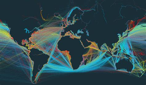 ship route map global shipping in a narrated interactive map flowingdata