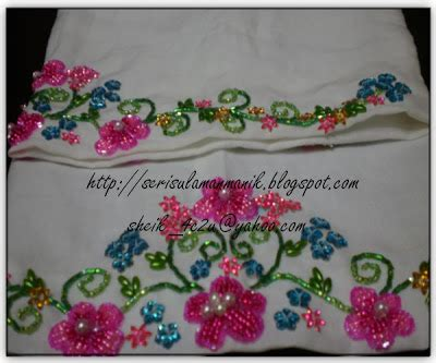 design bunga sulam sheik sulam manik manjalara dan bunga pink