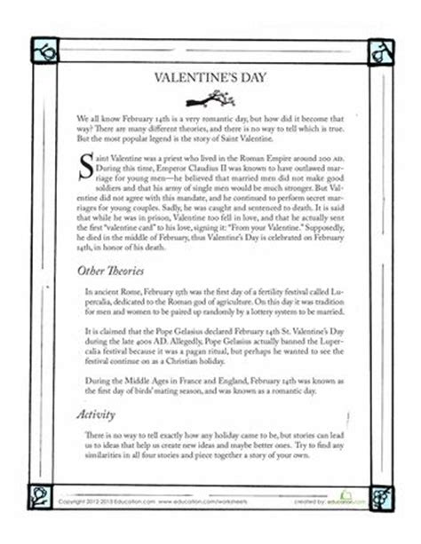 History Worksheets For Middle School by History Of Valentines Day History Of And Middle