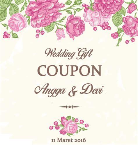 Kupon Untuk Souvenir Pernikahan jual kupon souvenir pernikahan wedding gift coupon