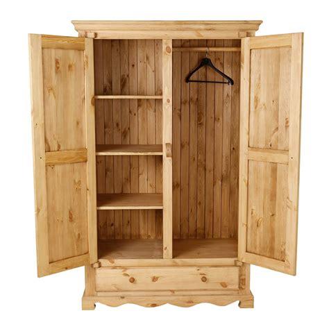 armoire tiroir armoire penderie rustique en pin 2 portes 1 tiroir