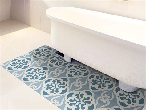 Bathtub Floor Stickers by Floor Tile Decals Set Of 15 With Calm Blue Pattern Floor