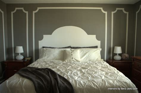 Painted Headboard On Wall Ideas by Someday Crafts Painted Wall Headboard And Molding
