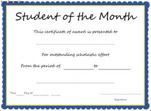Of The Month Certificate Template by Student Of The Month Certificate Www Imgkid The