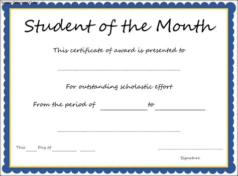 student award certificate templates student of the month certificate template sle templates