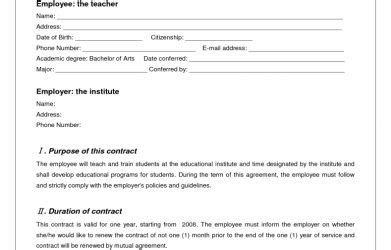 Sle Letter Of Training Agreement Between Employer And Employee 75 Main Group Contract Between Employee And Employer Template