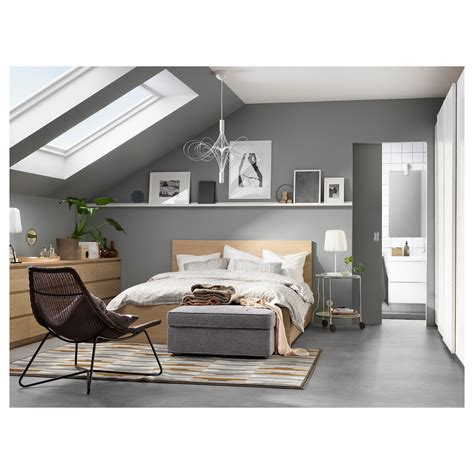bett ikea malm malm bed frame high w 4 storage boxes white stained oak