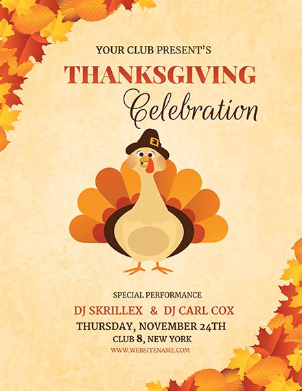 Free Dj Thanksgiving Flyer Template Download 800 Flyers In Psd Illustrator Word Publisher Free Printable Thanksgiving Flyer Templates