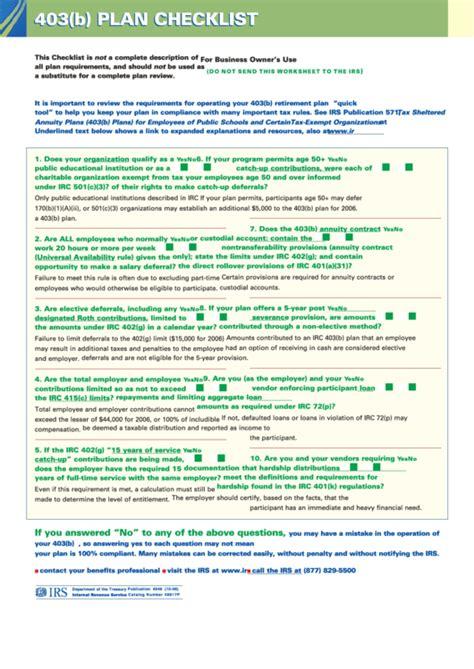 Form 403 B Plan Checklist Sheet Printable Pdf Download 403 B Plan Document Template