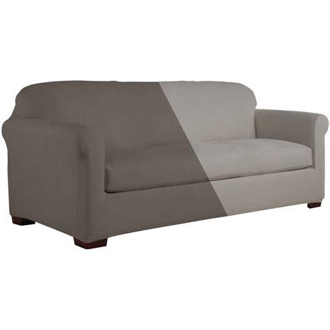 Serta Reversible Microsuede Stretch Fit Slipcover Sofa 2 Microsuede Sofa Slipcover