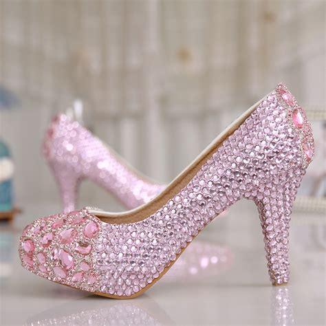 pink wedding shoes rhinestone high heels