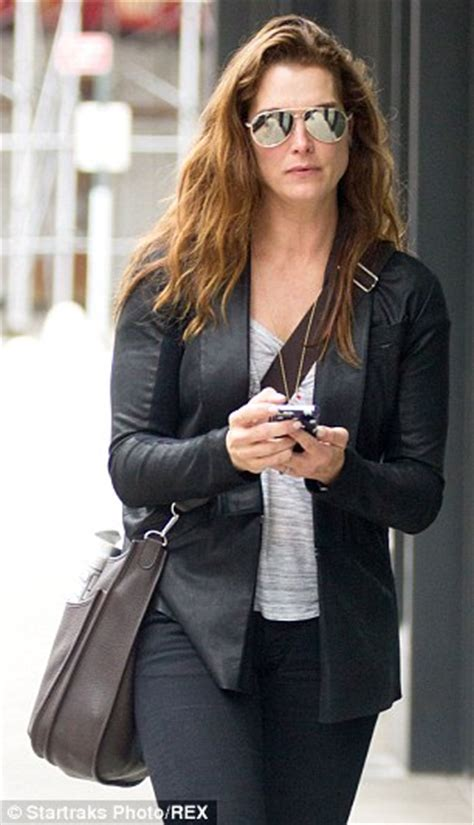 brooke shields  youthful  leather trousers  outing