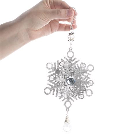 silver glitter dimensional snowflake ornament christmas