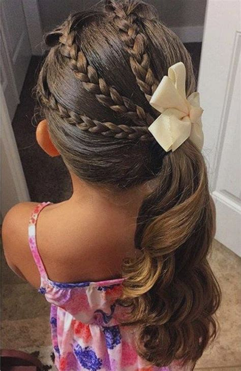 braids that lead into a ponytail wedding hairstyles for little girls best photos page 4