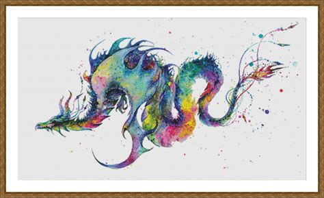watercolor cross pattern rainbow dragon watercolor painting counted cross stitch