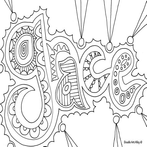 Doodle Art Grace Nice Coloring Page For Older Kids American Grace Coloring Pages Printable
