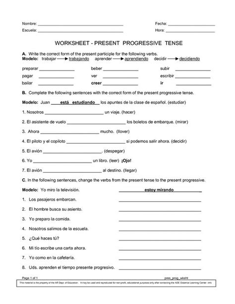 pattern of present continuous tense spanish worksheets printables present progressive