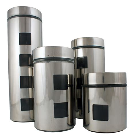 stainless steel kitchen canisters sets ragalta 4 stainless steel and glass canister set