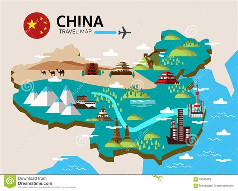 free vector united states map illustrator china landmark and travel map stock vector image 59930093