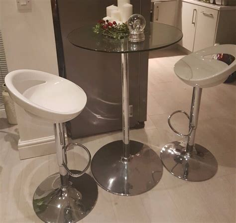 Breakfast Bar Table And 2 Stools by Clear Glass Breakfast Bar Table And 2 New White Gloss