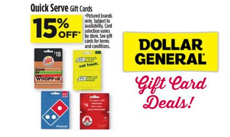 Serve Gift Card - dollar general 15 off select gift cards southern savers