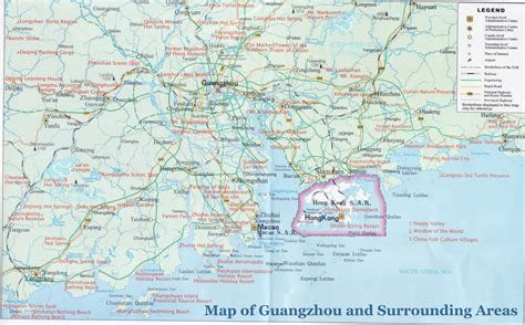 map of and surrounding areas guangzhou maps detailed china guangzhou attraction