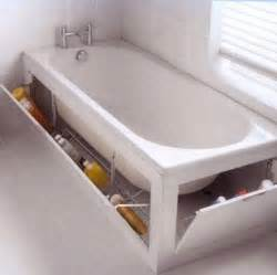 The built in cabinet surrounding this tub provides enough space for