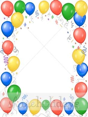 bright balloons party border party clipart amp backgrounds