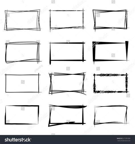 sq stock hand drawn square frames black highlighting stock vector