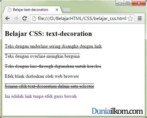 tutorial membuat css eksternal belajar css cara membuat teks underline overline dan