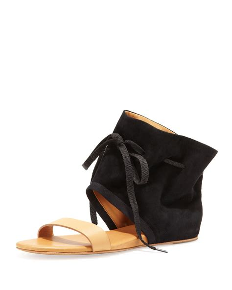 cuff sandals see by chlo 233 ankle cuff flat sandal in black lyst