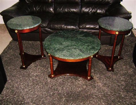 3pc beautiful real marble coffee and end tables central