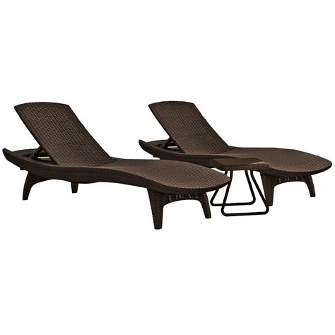 resin patio chaise lounge keter pacific whiskey brown all weather adjustable resin