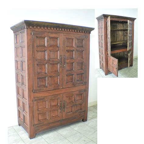 Spanish Rustic Pine 2 Door Armoire Wardrobe Closet W 2 Door Wardrobe Closet
