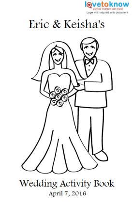 Printable Wedding Activity Book For Kids Childrens Colouring In L