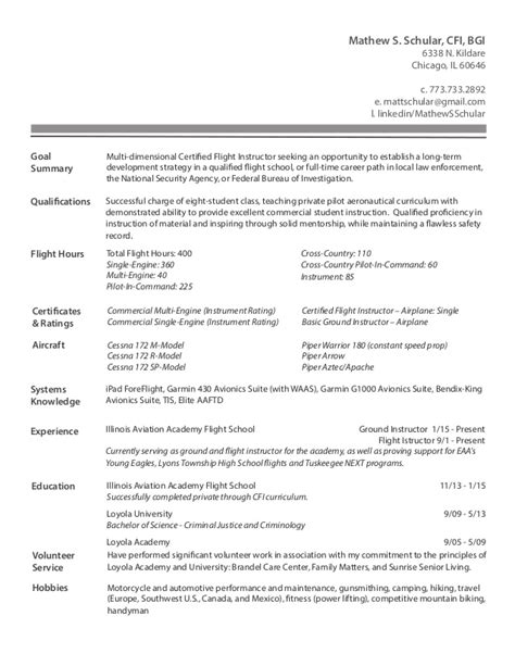 flight instructor resume resume ideas