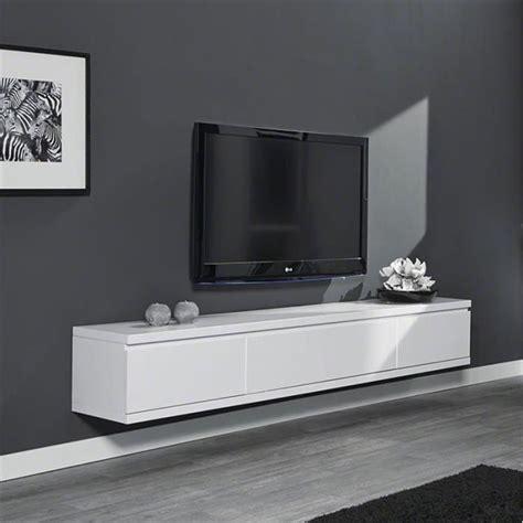 Meuble TV suspendu laqué blanc design   Achat / Vente