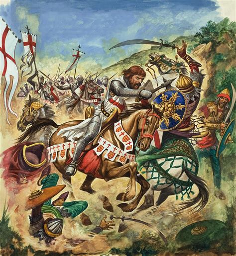 Duvet Cover King Richard The Lionheart During The Crusades Painting By