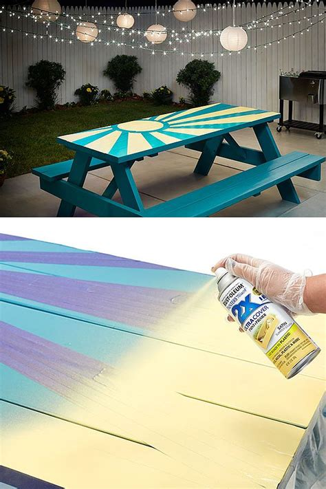 painted picnic table project  turn  table