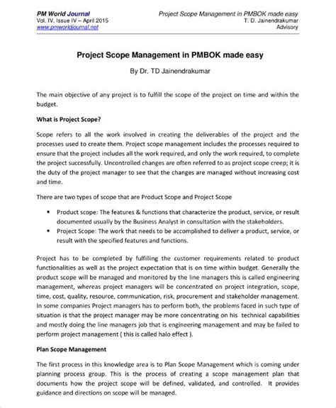 14 Scope Management Plan Exles Pdf Project Plan Scope Template