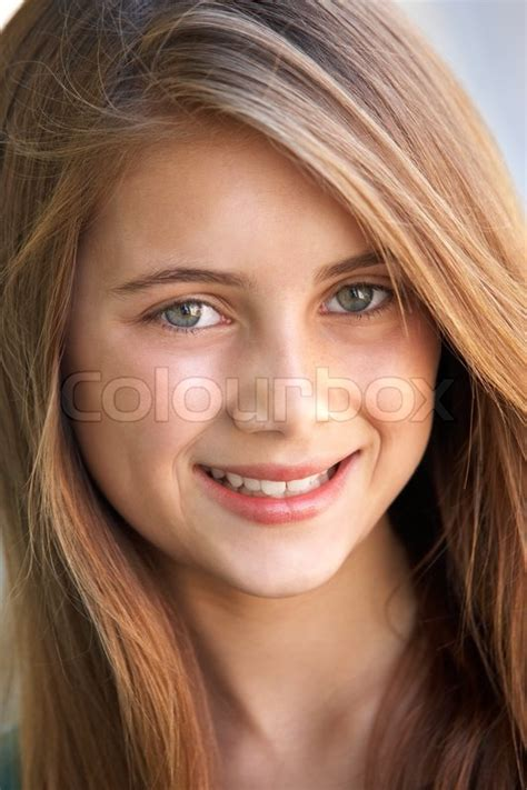 11 years old that has highlights at the bottom of their hair child brunette 11 year old stock photo colourbox