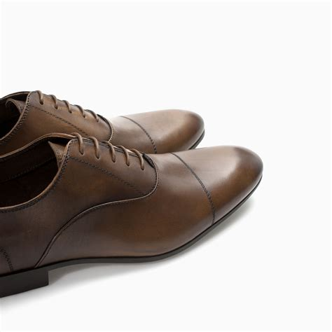 zara formal leather oxford shoe in brown for lyst