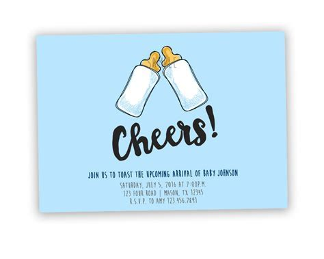 Funny Toast CHEERS Baby Shower Invitation ? Party Print