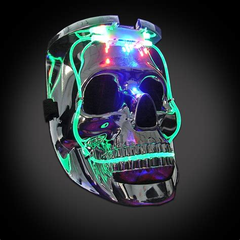 light mask light up silver skull mask