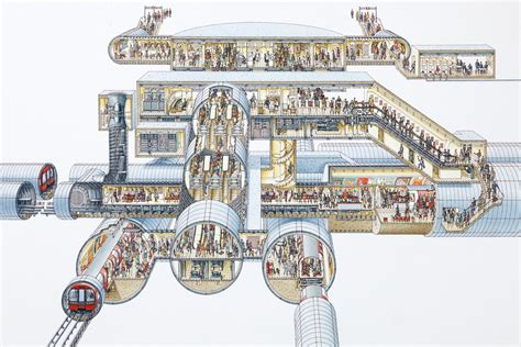 tube cross section stephen biesty illustrator cross sections subway station