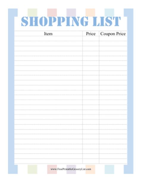 printable grocery list for coupons printable shopping list with coupons